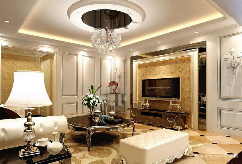 中式高贵大别墅客厅灯装修效果图 齐装网装修效果图 -颜色