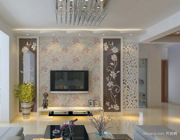 2016现代欧式大户型客厅电视背景墙装修效果图