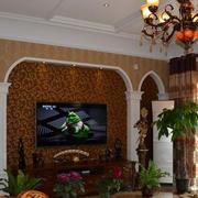 欧式复式楼电视背景墙