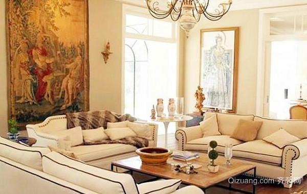 大型别墅奢华高贵法式风格客厅装修效果图