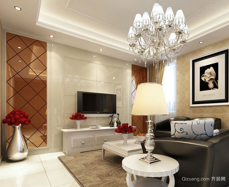 80平米欧式舒适的小户型客厅装修设计效果图