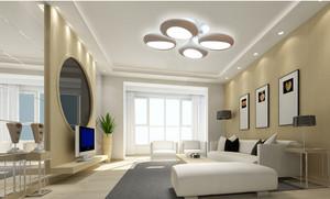 浅色调时尚都市客厅灯装修效果图