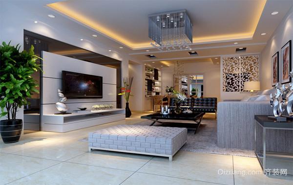大气的现代欧式客厅大户型电视背景墙装修效果图片