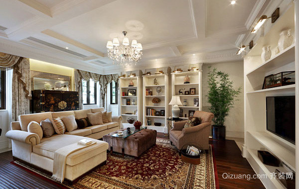 148平米大型欧式风格客厅家具装饰效果图