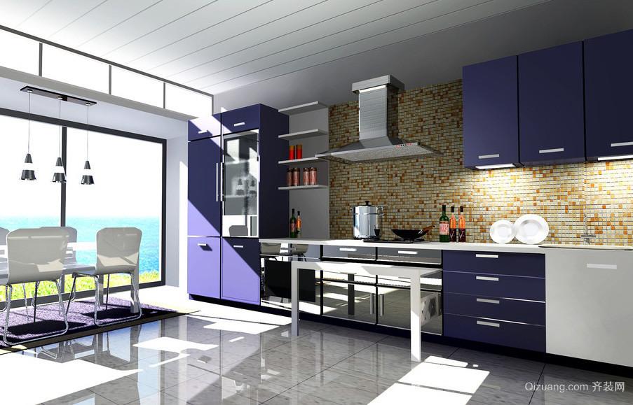 143平米三居室开放式厨房装修设计效果图