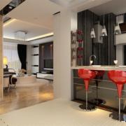 90平米大户型现代精致的欧式吧台装修效果图