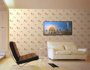 100平米现代简约暖色系客厅液体壁纸装修图