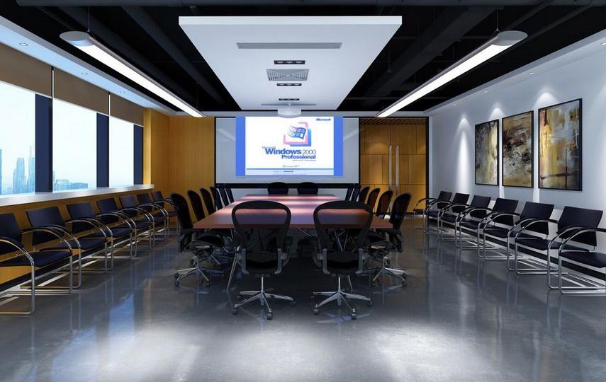 高端大气多媒体会议室设计效果图图片