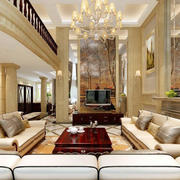 简欧风格别墅电视背景墙设计效果图