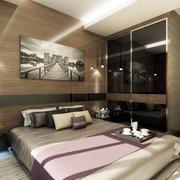 咖啡色现代老房屋卧室装修设计效果图