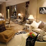 独栋别墅简约客厅沙发装饰