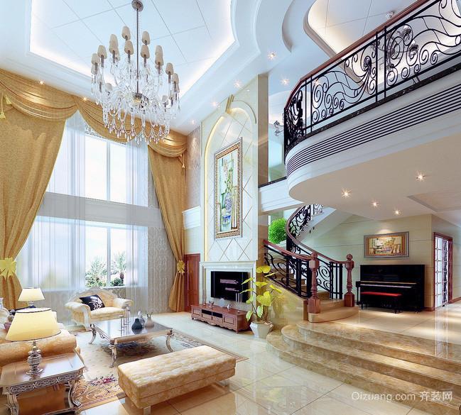 2016别墅型简欧风格客厅吊顶装修效果图欣赏
