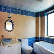 卫生间蓝色系背景墙装饰