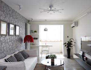 北欧清新风格客厅液体壁纸装修效果图