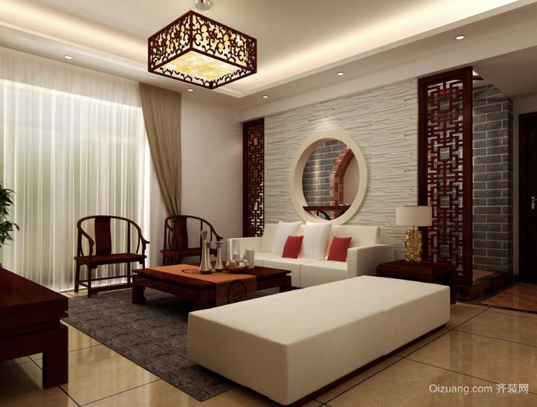 2016大户型现代中式家装客厅装修效果图