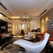 现代精美120平米家居客厅装修效果图