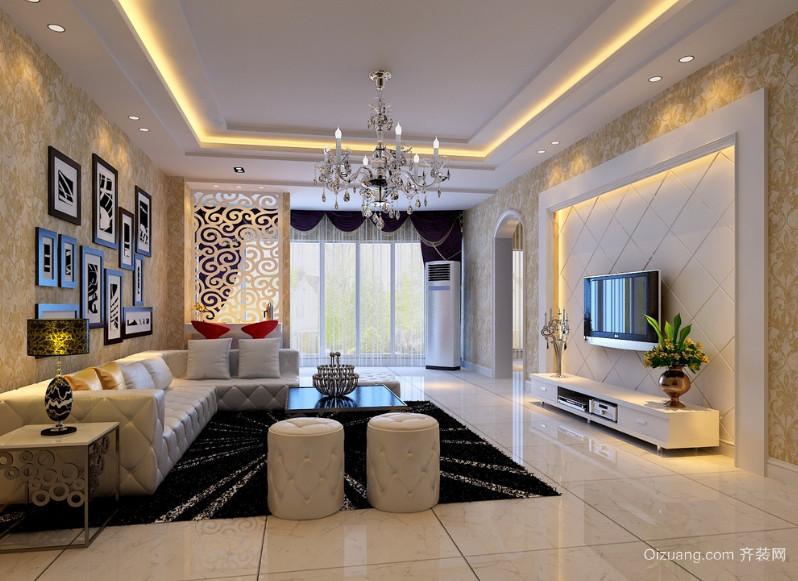 2016精致独特的欧式大户型客厅隔断装修效果图高清图片