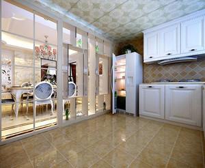 大户型欧式简约风格厨房推拉门装修效果图