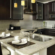 大型别墅后现代风格深色系整体厨房装修效果图