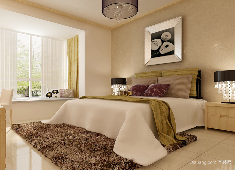 90平米大户型欧式卧室床头背景墙装修效果图
