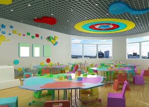大型现代简约风格幼儿园教室吊顶装修图