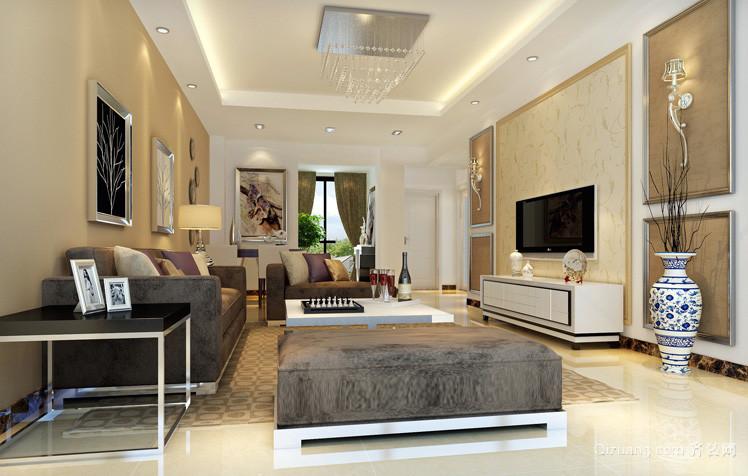 现代简约三居室家庭客厅装修设计图