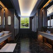 深色系洗手间镜饰装饰
