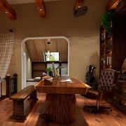 美式田园复式楼阁楼书房装修效果图
