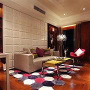 70平米混搭风格客厅样板房装修效果图