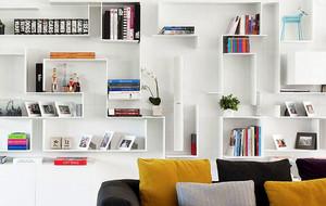 白色系简约书房书架装饰