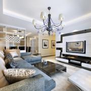 2016欧式大户型精美的客厅电视墙背景装修效果图