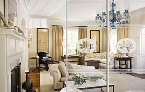 朴素优雅别墅客厅玻璃隔断墙设计效果图