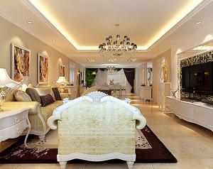 别墅欧式奢华风格客厅样板间装修效果图