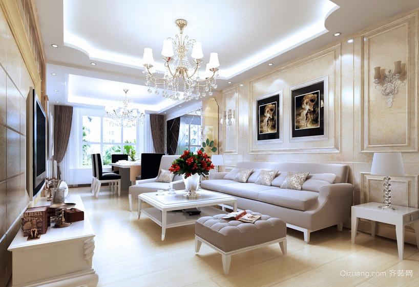 温婉简欧式24平米客厅沙发装修效果图