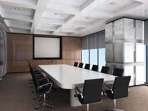 大型公司现代简约风格大型会议室装修图