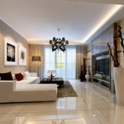 2016大户型唯美的现代简约客厅装修效果图