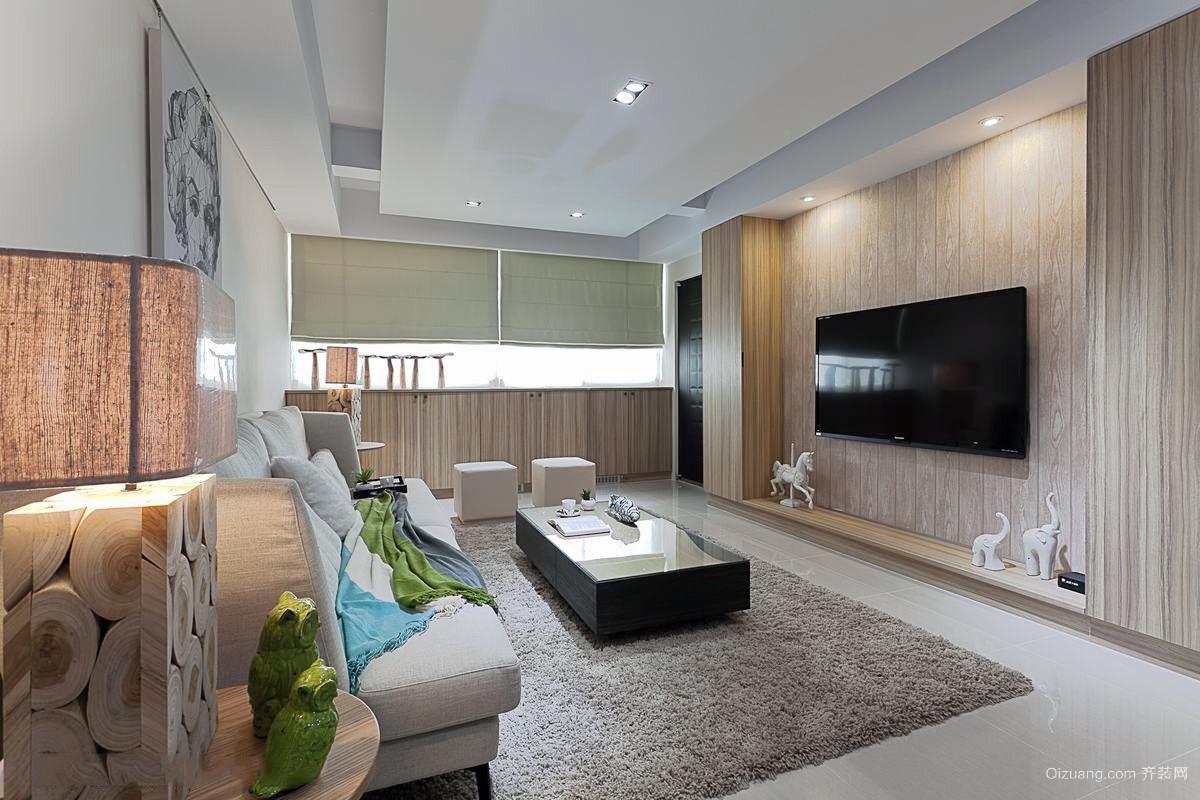 复式三居客厅家装电视墙装修效果图