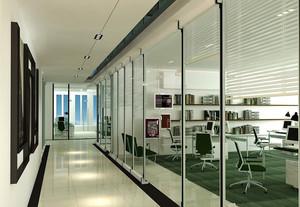 都市公司办公室玻璃隔断墙设计效果图
