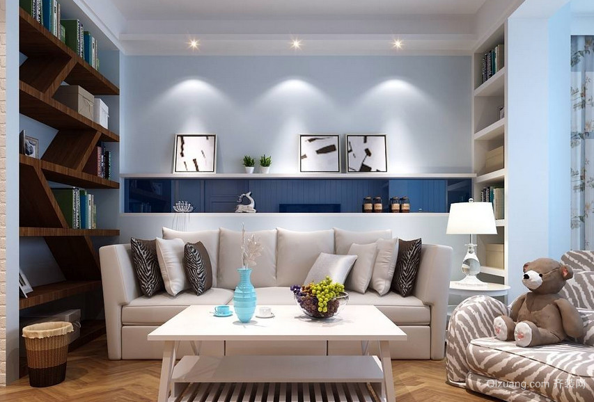 复式楼精致型客厅塑料储物柜效果图