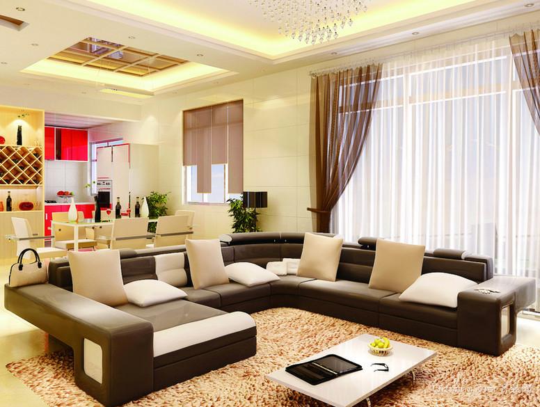 现代大户型欧式100平米房屋客厅装修效果图