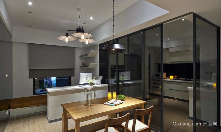 简约98平米家居厨房玻璃隔断墙设计图