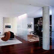 摩登都市单身公寓玻璃隔断墙设计效果图