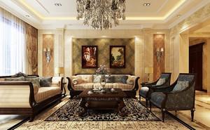 混搭欧美式344平米别墅客厅沙发装修图