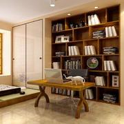 108平米田园风格书房设计装修效果图