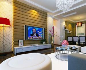 90平米大户型欧式客厅硅藻泥电视背景墙装修效果图