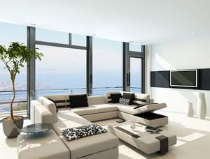 大型港式海景房客厅样板房装修效果图