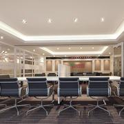 会议室简约皮制桌椅装饰