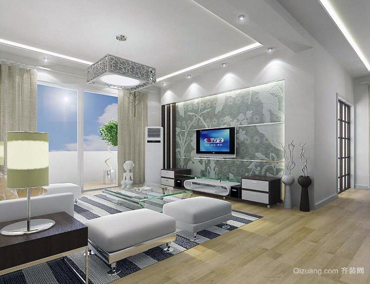2016大户型简欧风格客厅电视背景墙装修效果图图片