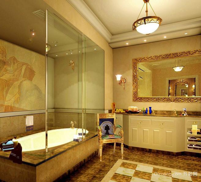 欧式奢华别墅卫生间玻璃隔断墙设计图
