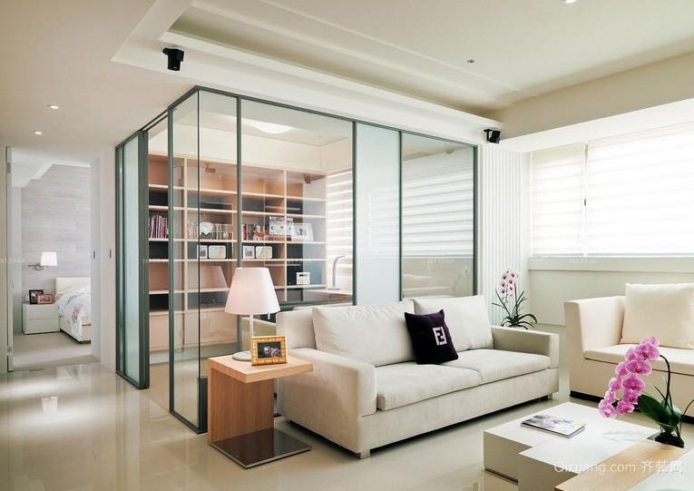 现代100平米家居书房玻璃隔断墙设计图